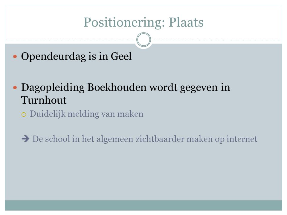 Positionering: Plaats