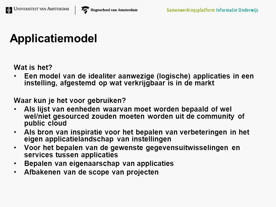 Applicatiemodel Wat is het