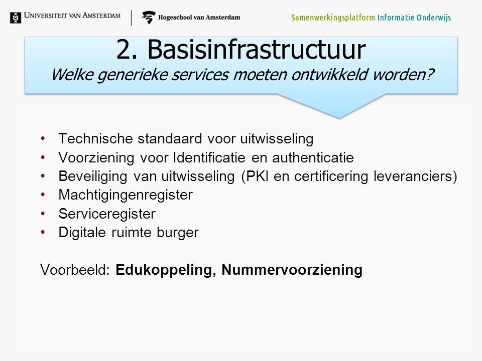 Welke generieke services moeten ontwikkeld worden