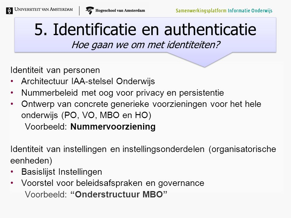 5. Identificatie en authenticatie