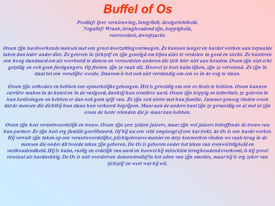 Buffel of Os Positief: ijver vernieuwing, integriteit, doelgerichtheid. Negatief: Wraak, terughoudend zijn, koppigheid, vooroordeel, dweepzucht.