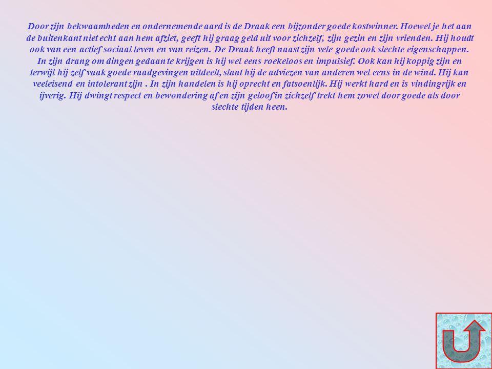 Door zijn bekwaamheden en ondernemende aard is de Draak een bijzonder goede kostwinner.