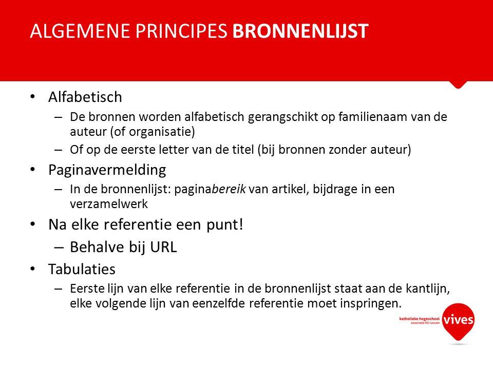 ALGEMENE PRINCIPES BRONNENLIJST