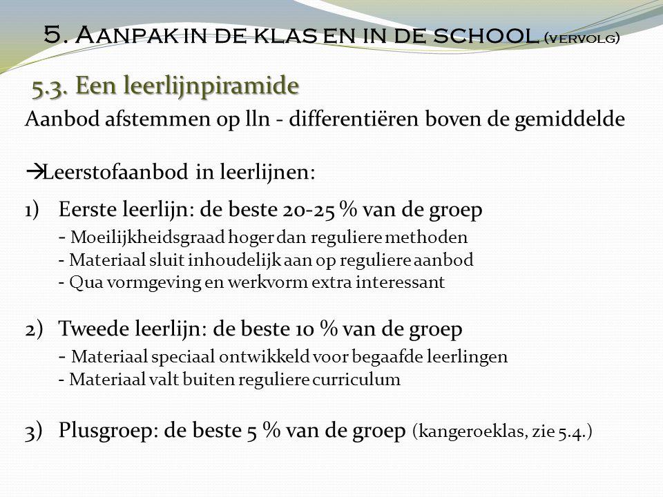 5. Aanpak in de klas en in de school (vervolg)