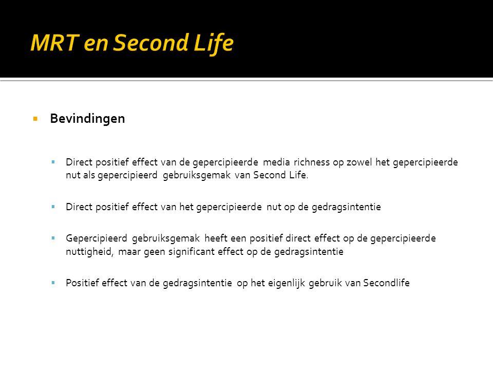 MRT en Second Life Bevindingen