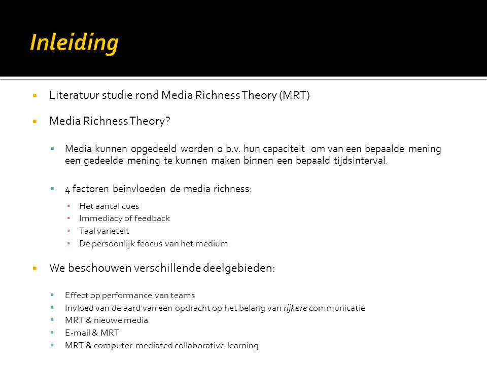 Inleiding Literatuur studie rond Media Richness Theory (MRT)