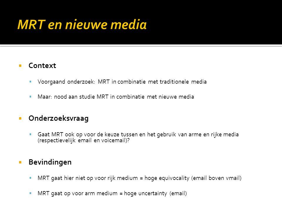 MRT en nieuwe media Context Onderzoeksvraag Bevindingen