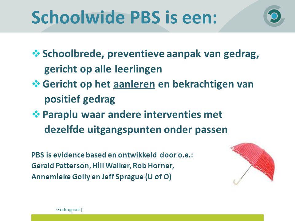 Schoolwide PBS is een: Schoolbrede, preventieve aanpak van gedrag,