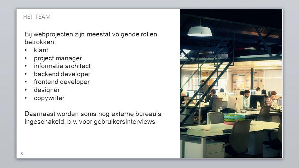 HET TEAM Bij webprojecten zijn meestal volgende rollen betrokken: klant. project manager. informatie architect.