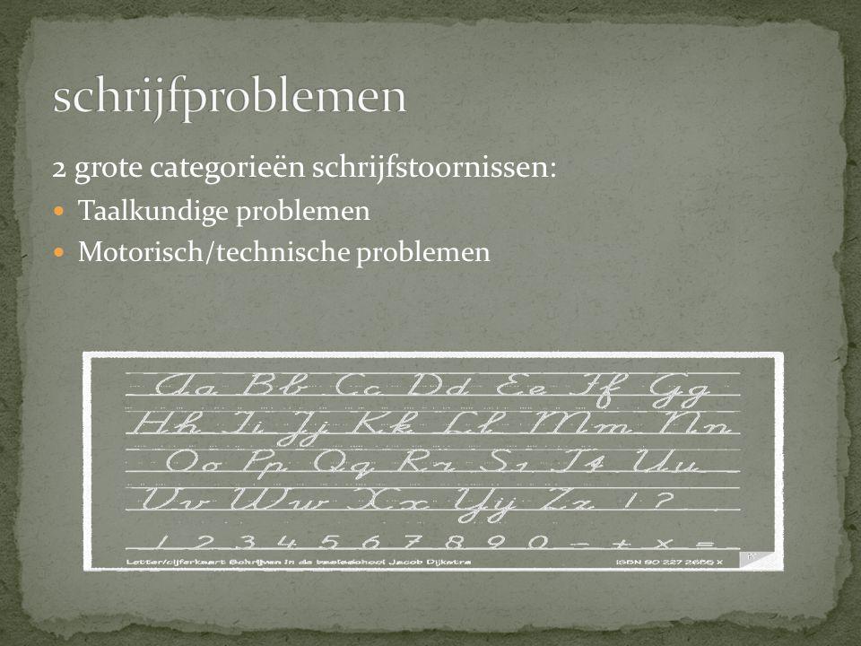 schrijfproblemen 2 grote categorieën schrijfstoornissen: