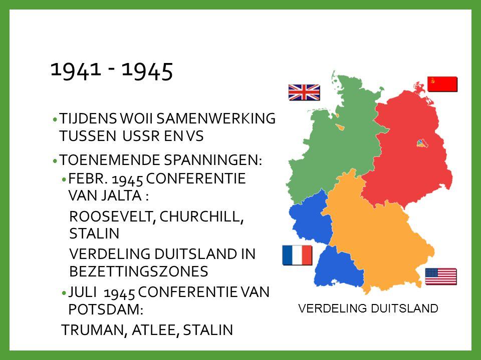 1941 - 1945 TIJDENS WOII SAMENWERKING TUSSEN USSR EN VS