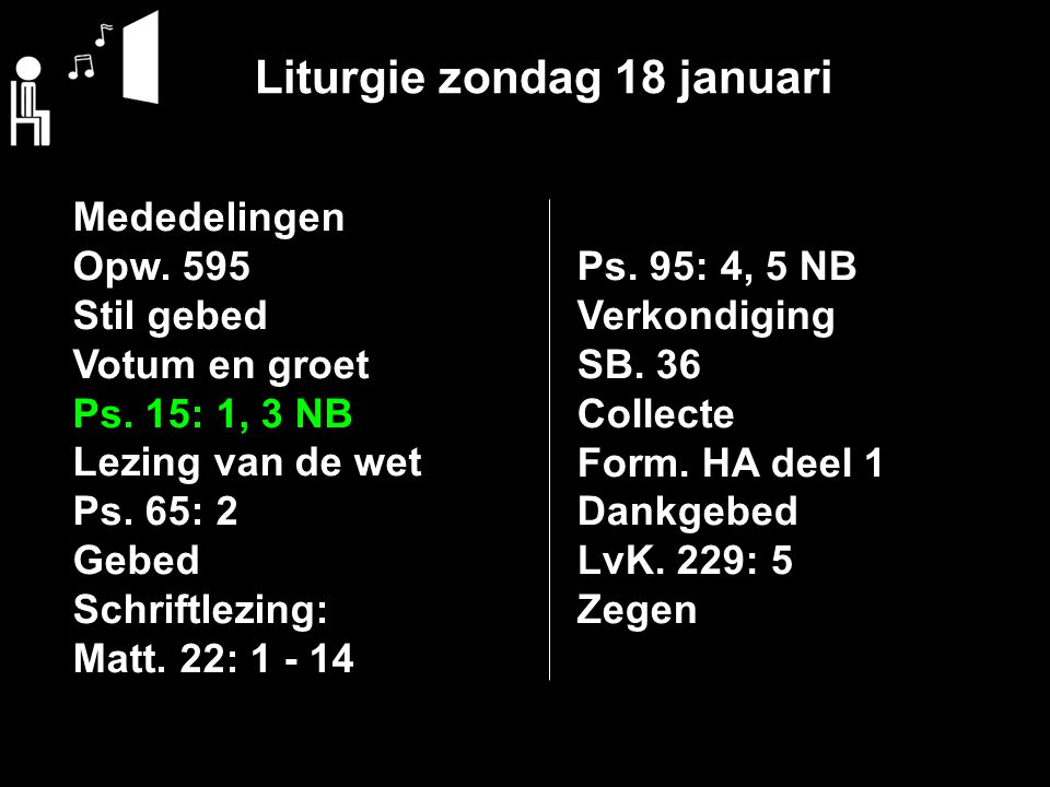 Liturgie zondag 18 januari