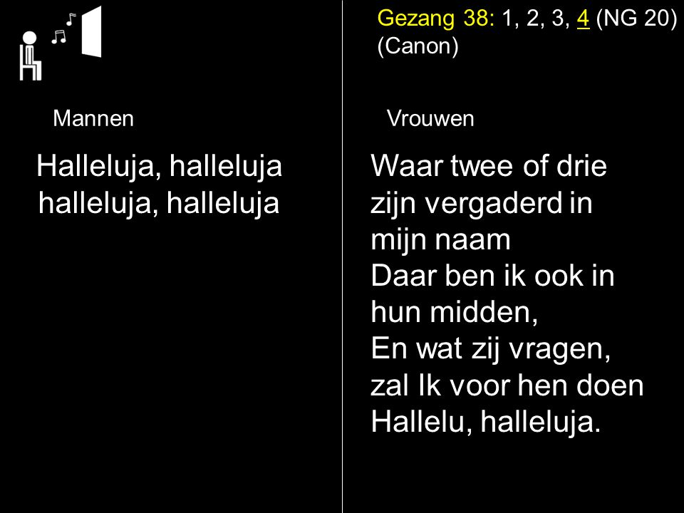 Halleluja, halleluja halleluja, halleluja Waar twee of drie