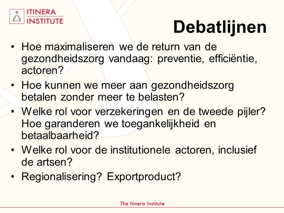 Debatlijnen Hoe maximaliseren we de return van de gezondheidszorg vandaag: preventie, efficiëntie, actoren