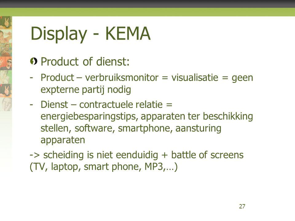 Display - KEMA Product of dienst: