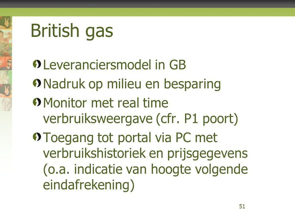 British gas Leveranciersmodel in GB Nadruk op milieu en besparing