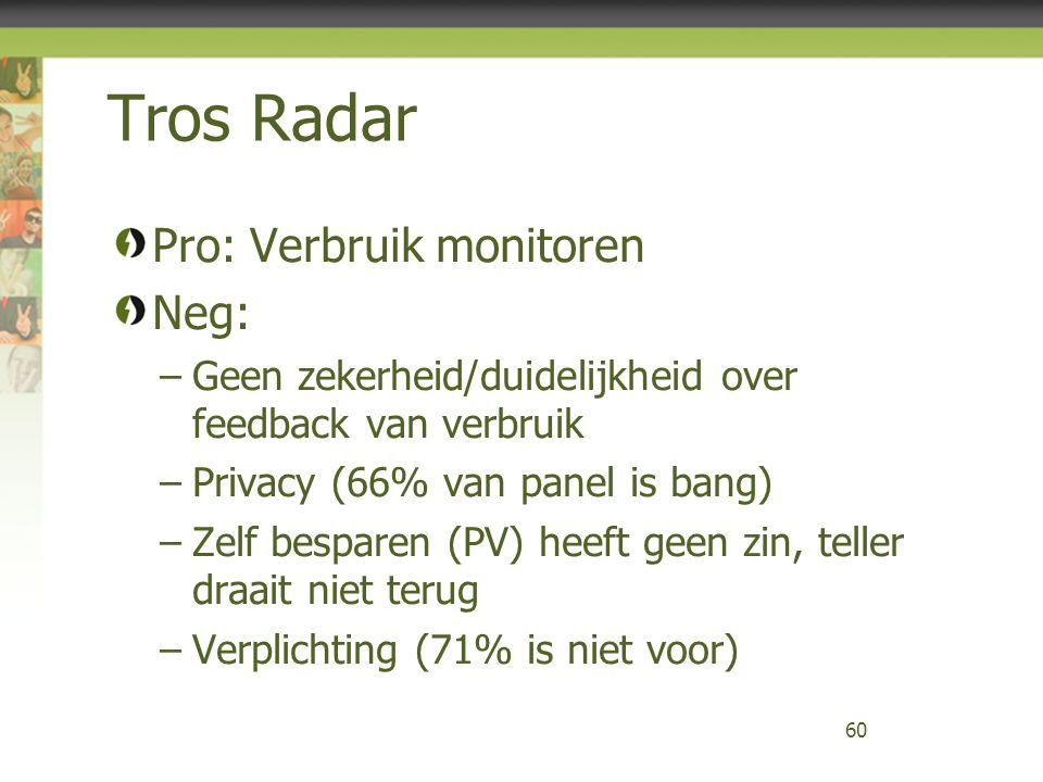 Tros Radar Pro: Verbruik monitoren Neg: