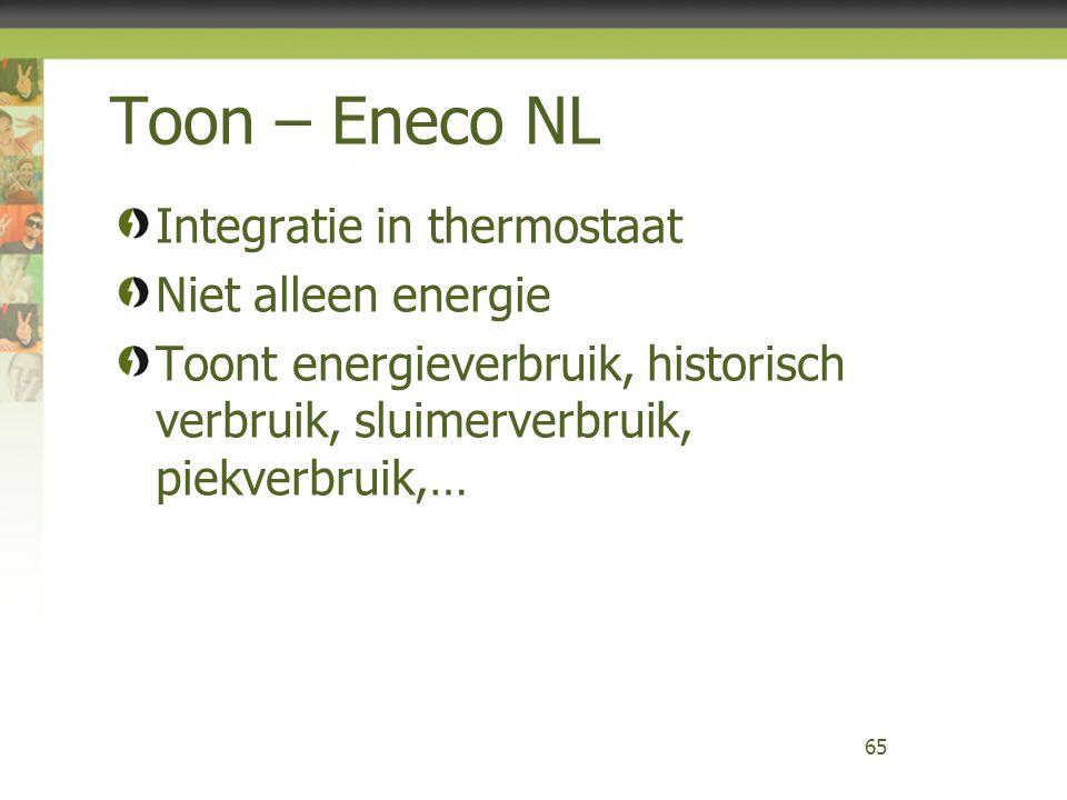 Toon – Eneco NL Integratie in thermostaat Niet alleen energie