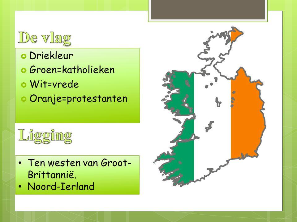De vlag Ligging Driekleur Groen=katholieken Wit=vrede