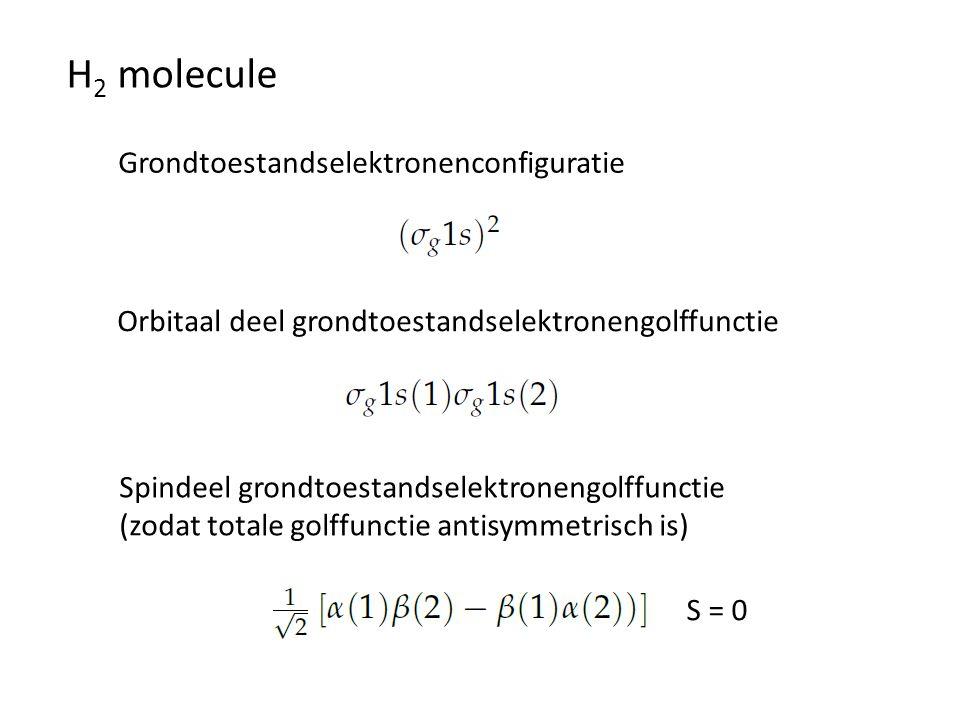 H2 molecule Grondtoestandselektronenconfiguratie
