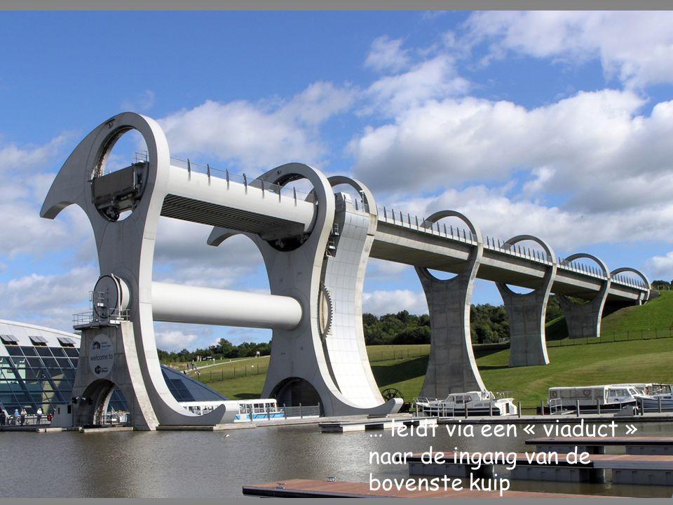 … leidt via een « viaduct » naar de ingang van de bovenste kuip