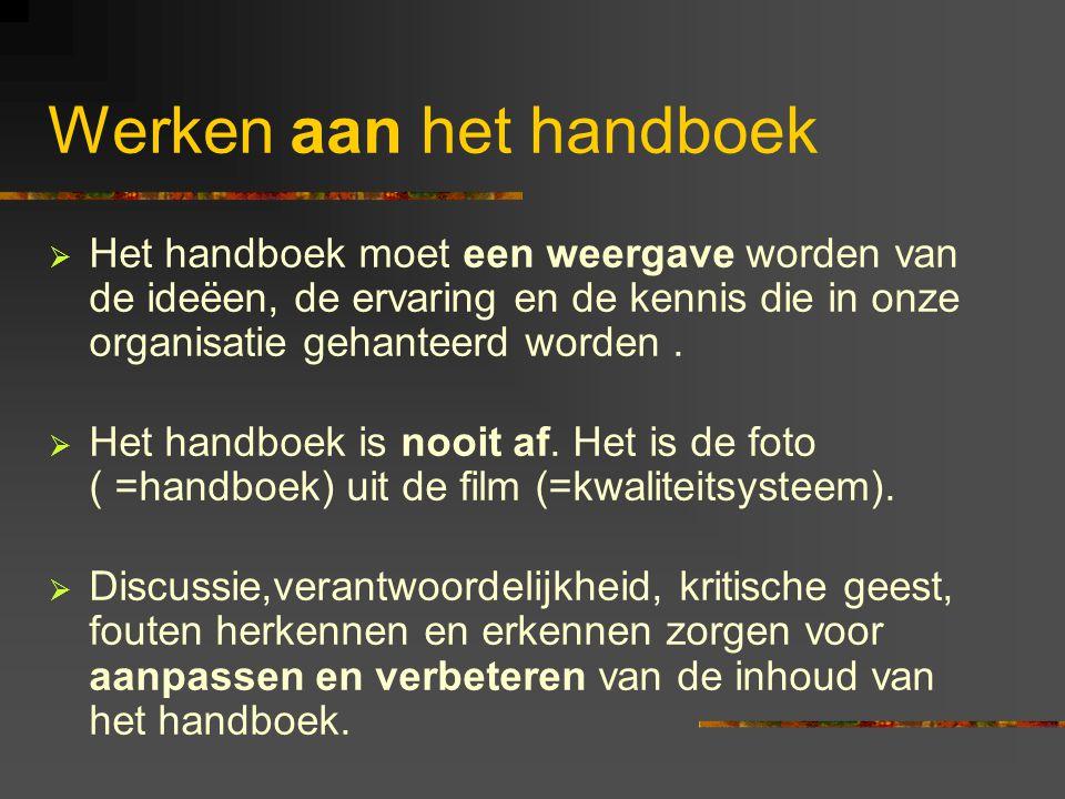 Werken aan het handboek