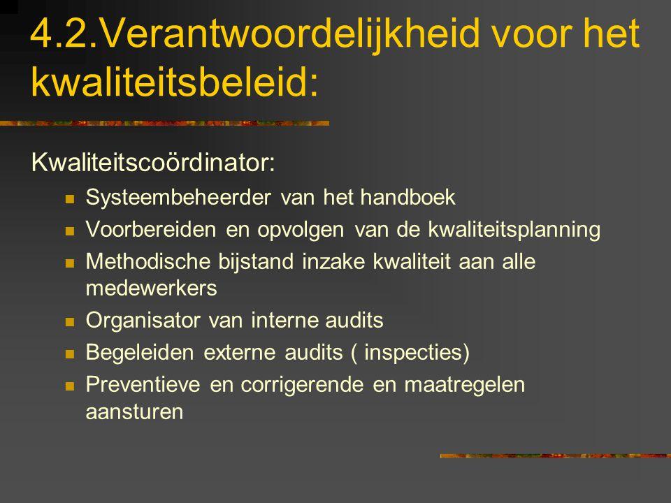 4.2.Verantwoordelijkheid voor het kwaliteitsbeleid: