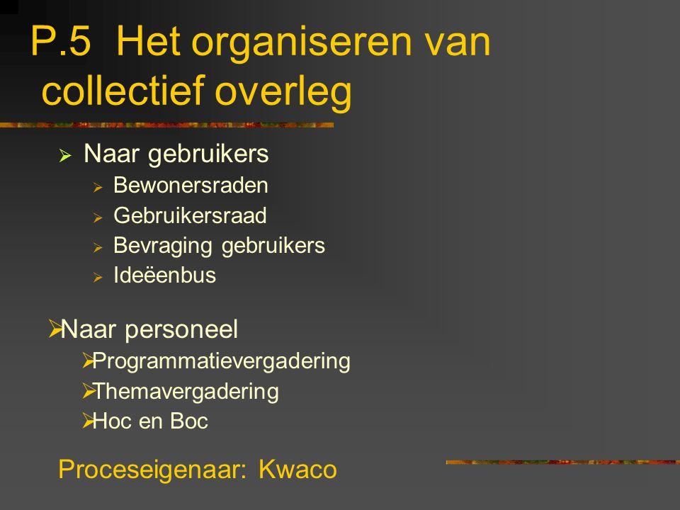 P.5 Het organiseren van collectief overleg