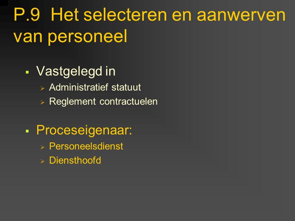 P.9 Het selecteren en aanwerven van personeel