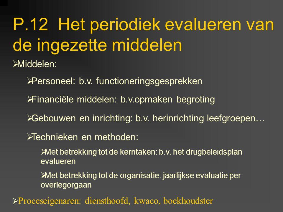 P.12 Het periodiek evalueren van de ingezette middelen
