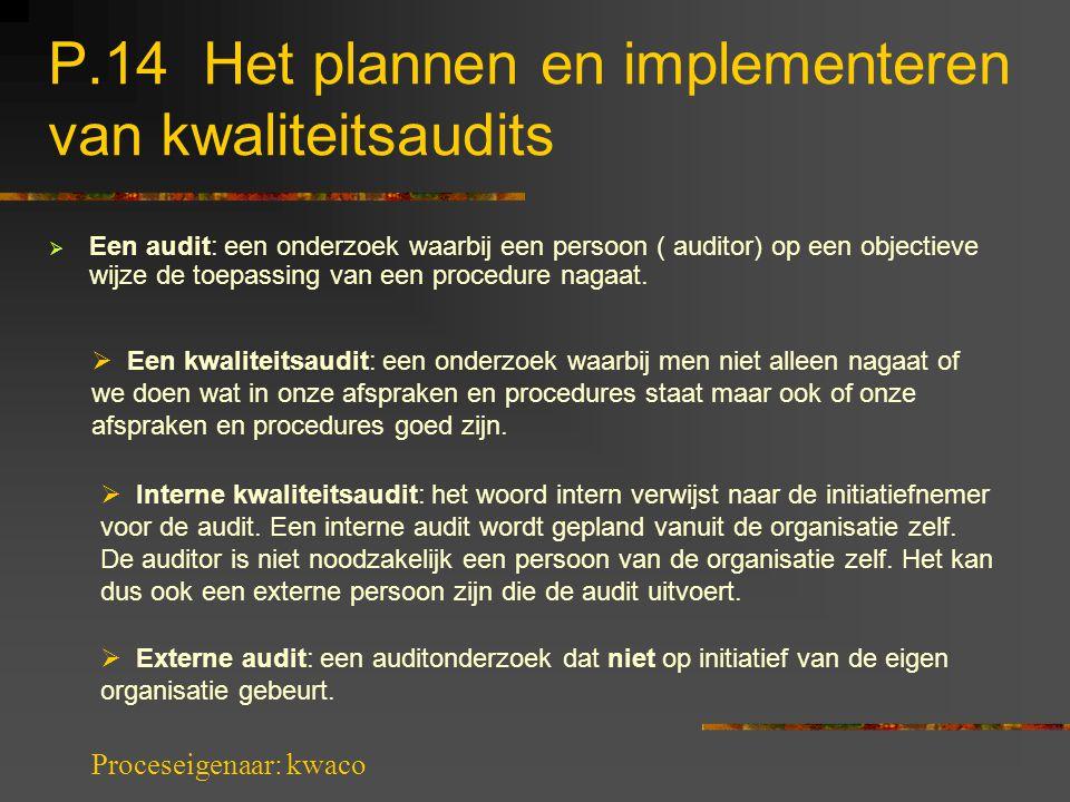 P.14 Het plannen en implementeren van kwaliteitsaudits