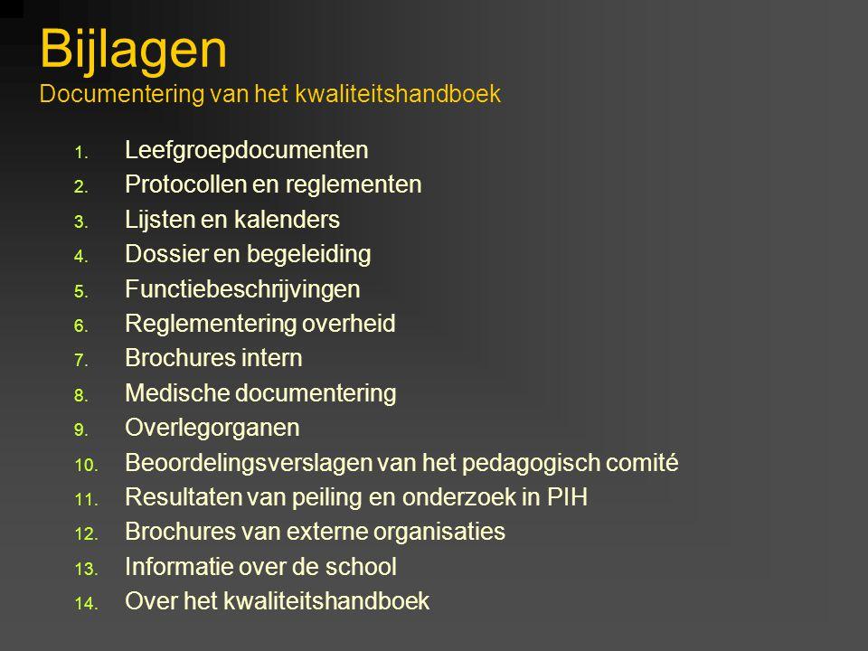 Bijlagen Documentering van het kwaliteitshandboek