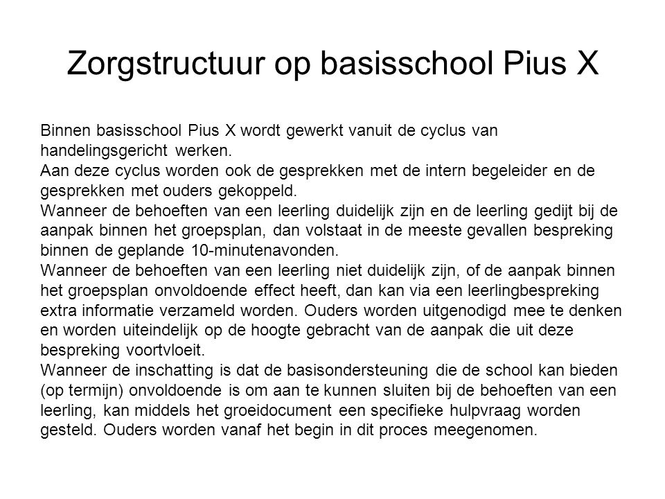 Zorgstructuur op basisschool Pius X