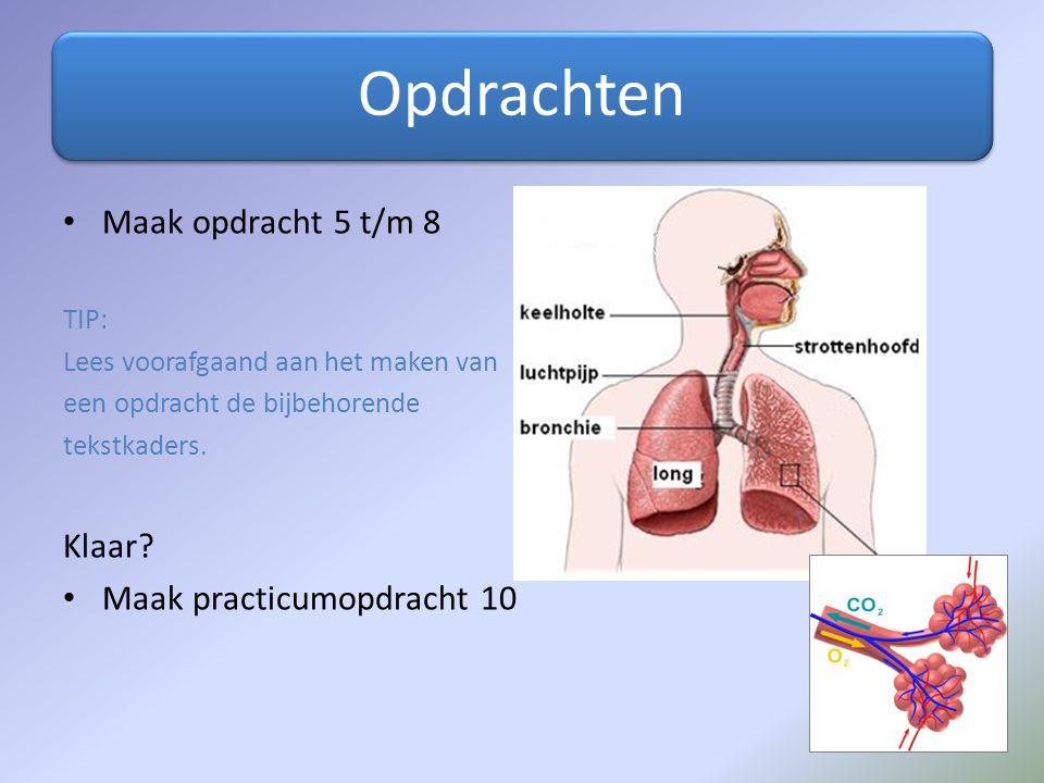 Opdrachten Maak opdracht 5 t/m 8 Klaar Maak practicumopdracht 10 TIP: