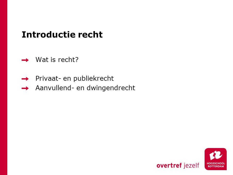 Introductie recht Wat is recht Privaat- en publiekrecht