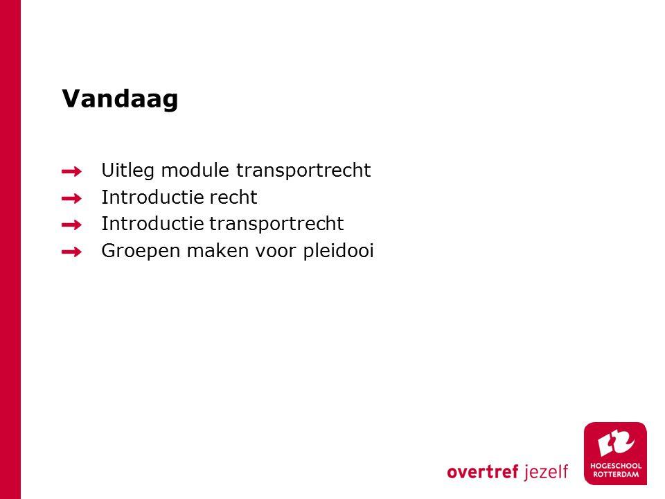 Vandaag Uitleg module transportrecht Introductie recht