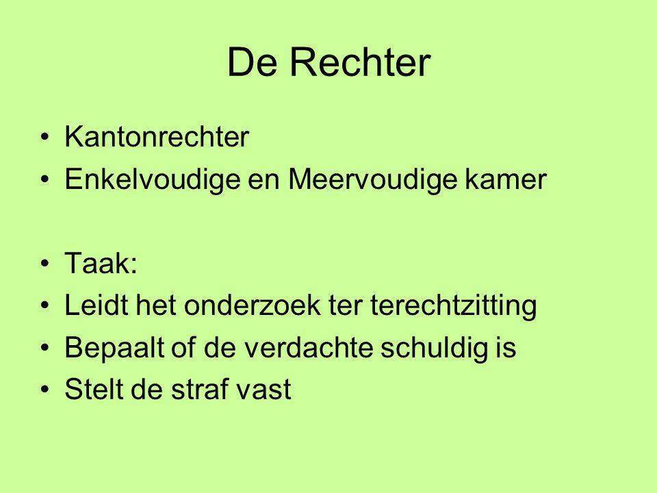De Rechter Kantonrechter Enkelvoudige en Meervoudige kamer Taak: