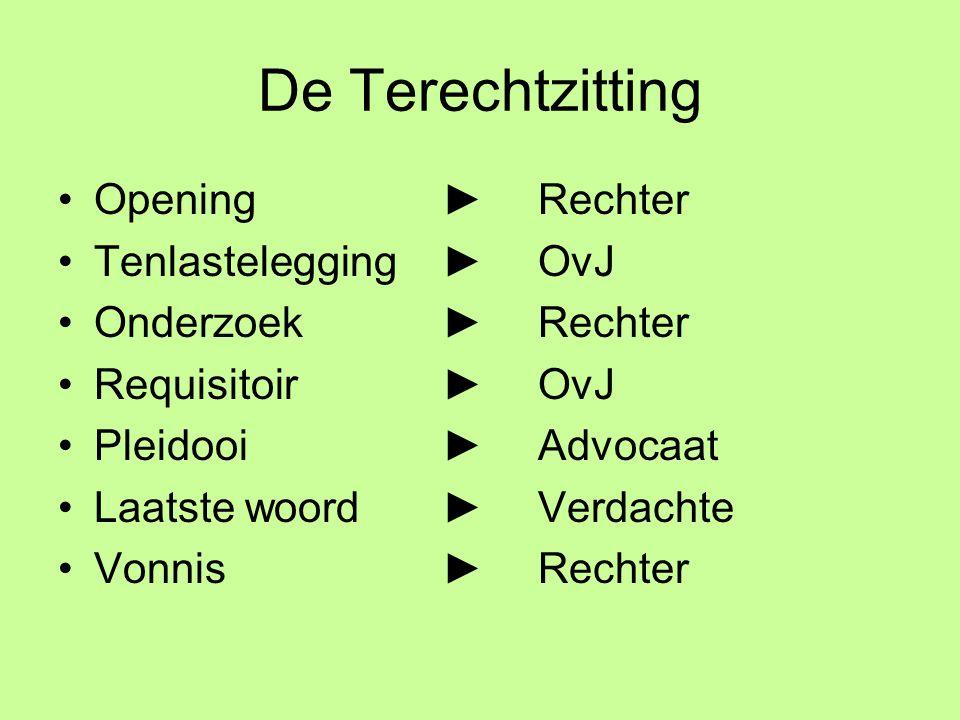 De Terechtzitting Opening ► Rechter Tenlastelegging ► OvJ