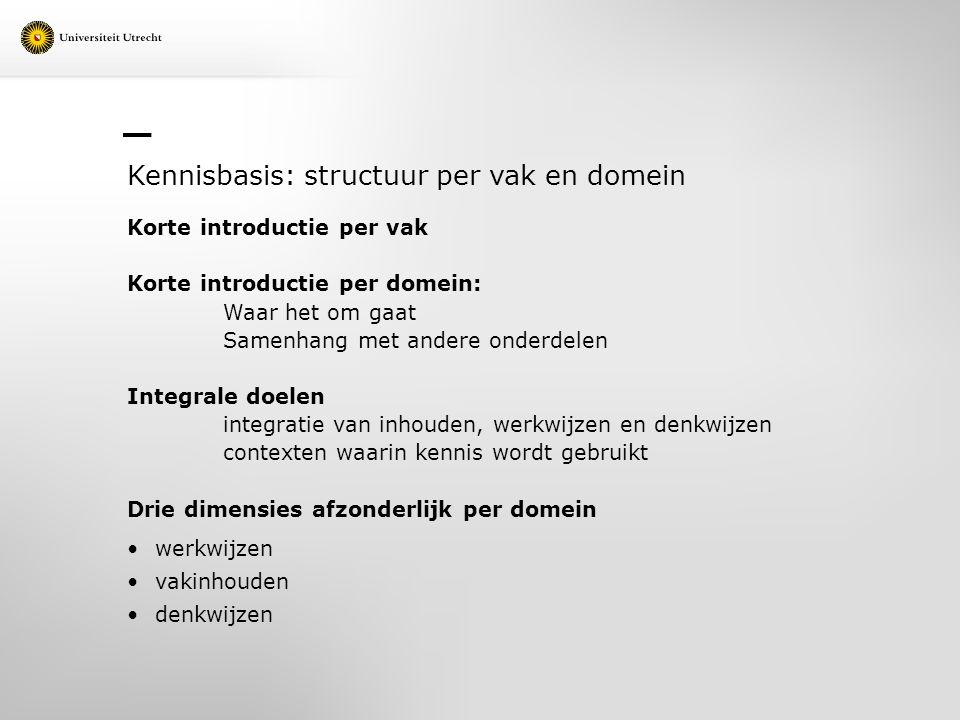 Kennisbasis: structuur per vak en domein