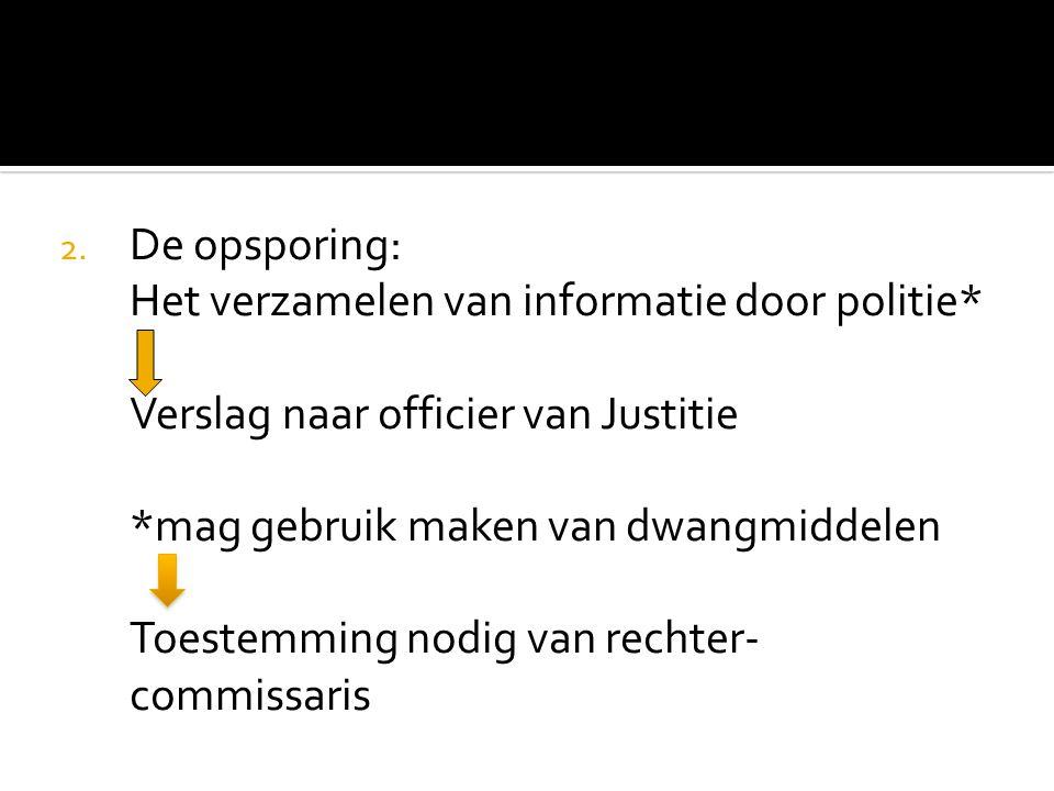 De opsporing: Het verzamelen van informatie door politie* Verslag naar officier van Justitie. *mag gebruik maken van dwangmiddelen.