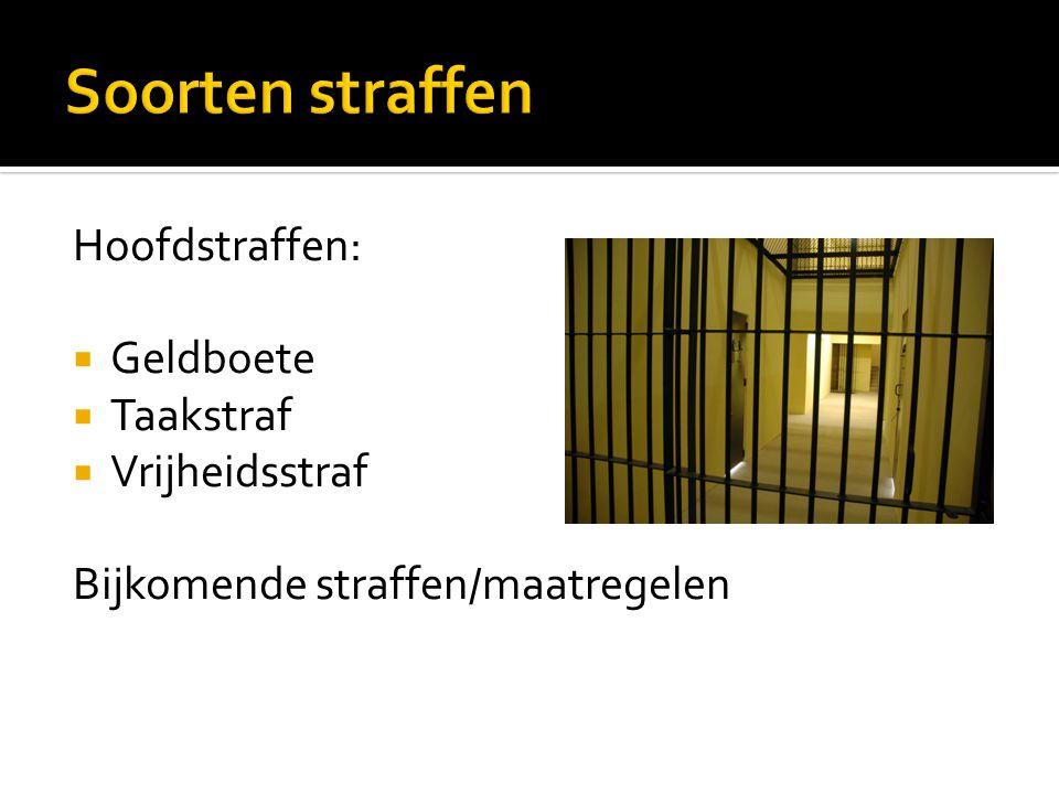 Soorten straffen Hoofdstraffen: Geldboete Taakstraf Vrijheidsstraf