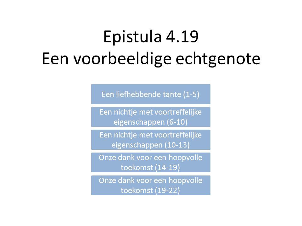 Epistula 4.19 Een voorbeeldige echtgenote