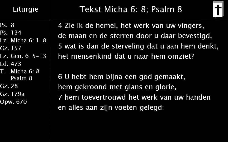 Tekst Micha 6: 8; Psalm 8