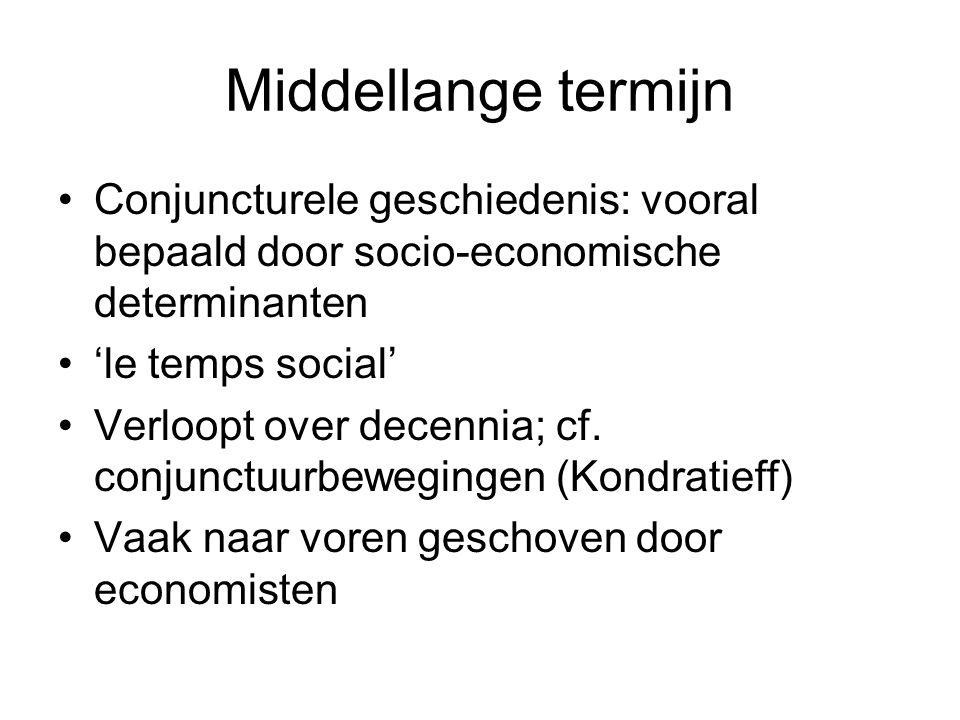 Middellange termijn Conjuncturele geschiedenis: vooral bepaald door socio-economische determinanten.