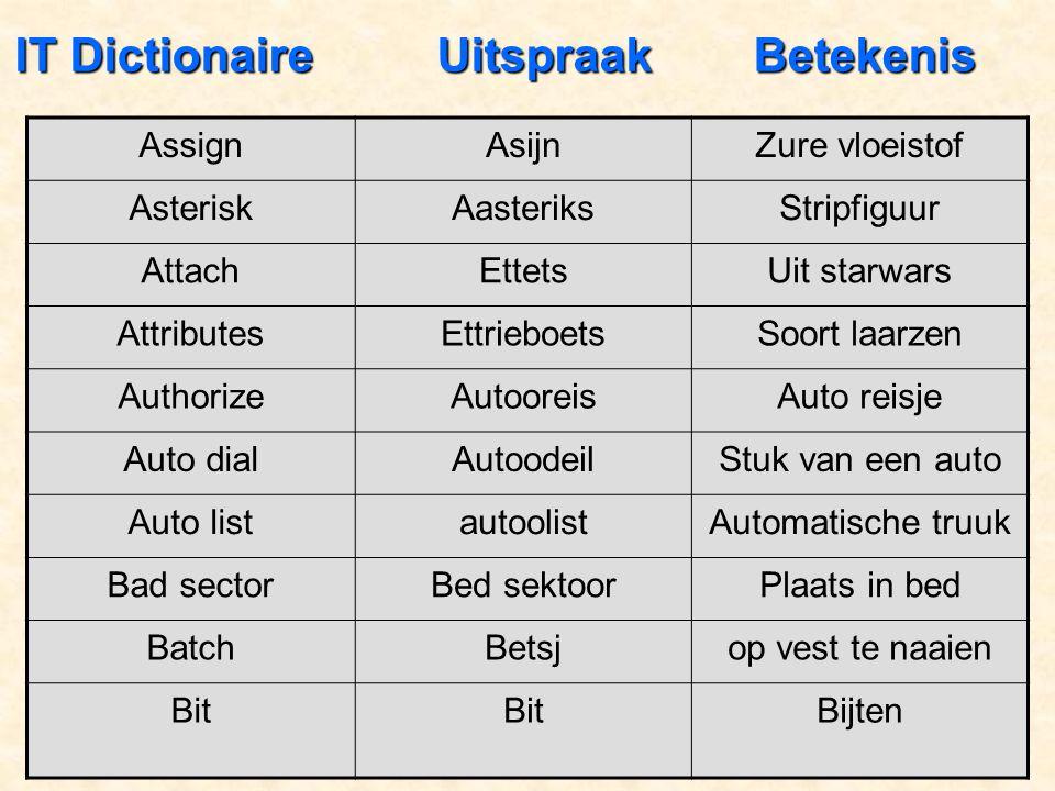 IT Dictionaire Uitspraak Betekenis