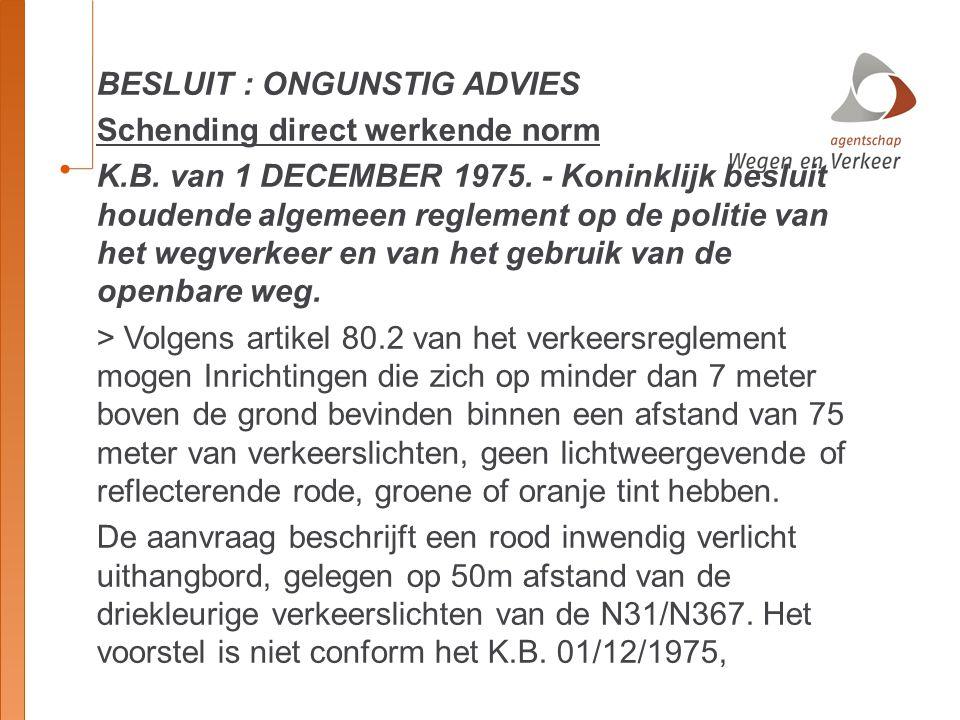 BESLUIT : ONGUNSTIG ADVIES Schending direct werkende norm K. B