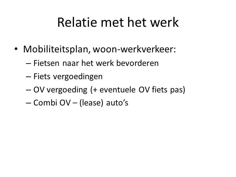 Relatie met het werk Mobiliteitsplan, woon-werkverkeer: