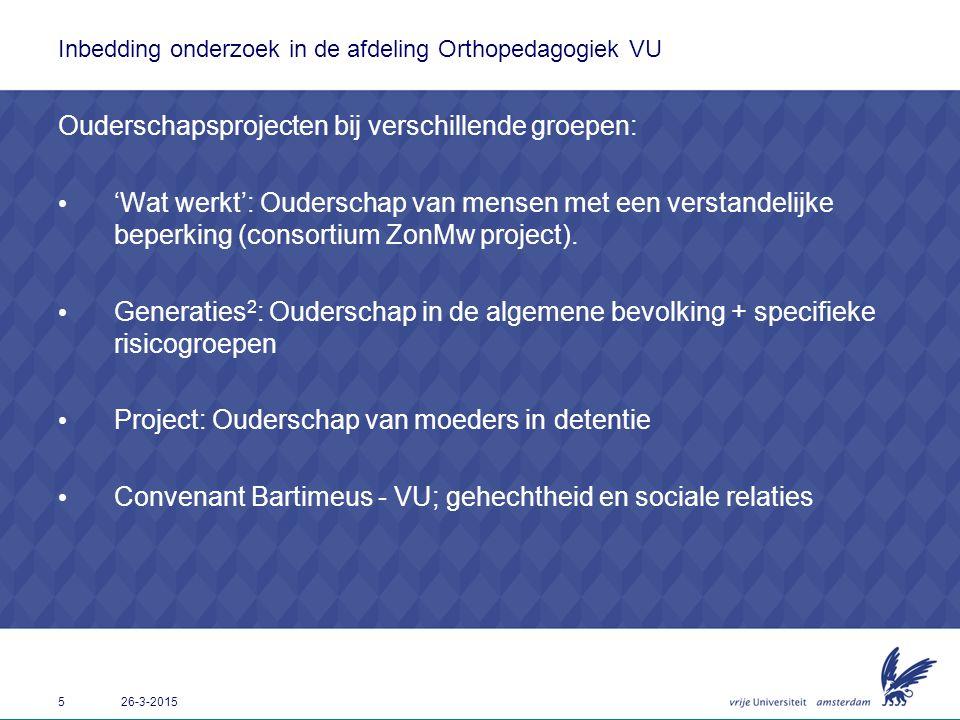 Inbedding onderzoek in de afdeling Orthopedagogiek VU