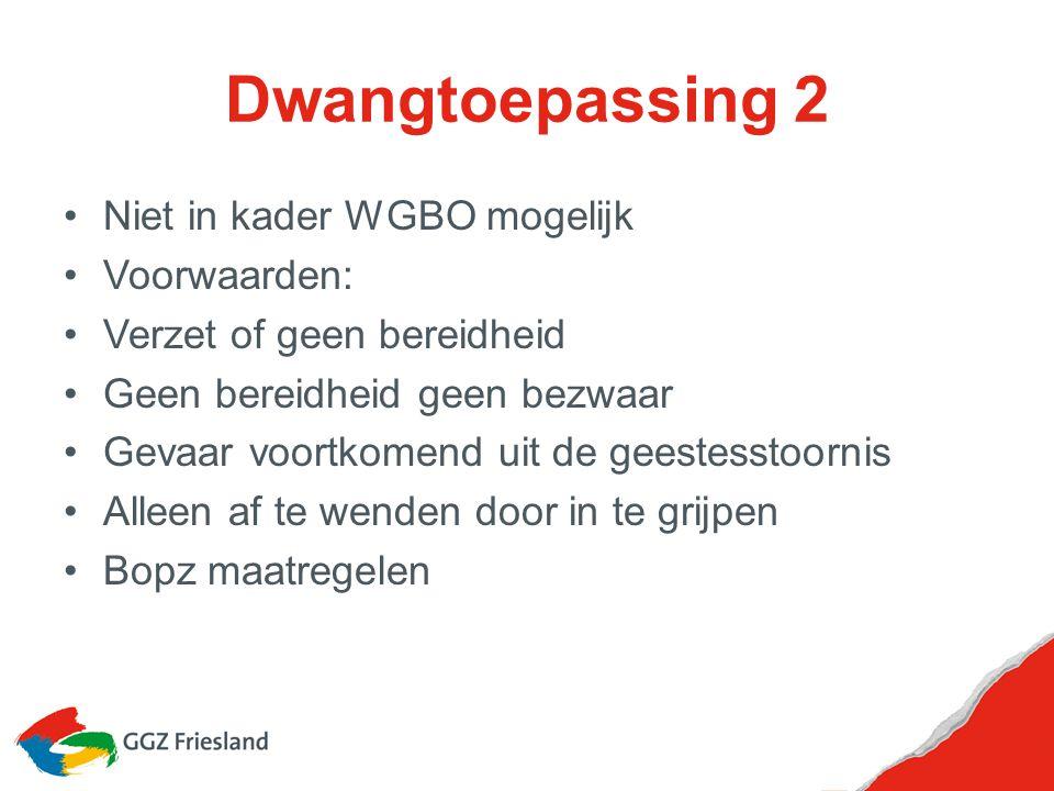 Dwangtoepassing 2 Niet in kader WGBO mogelijk Voorwaarden: