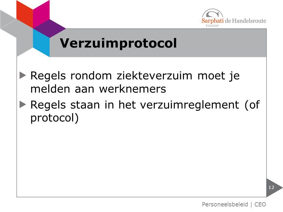 Verzuimprotocol Regels rondom ziekteverzuim moet je melden aan werknemers. Regels staan in het verzuimreglement (of protocol)